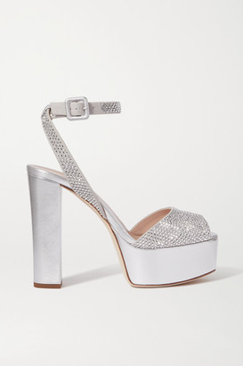 Giuseppe Zanotti Lavina Crystal-embellished Metallic Leather Platform Sandals - Silver