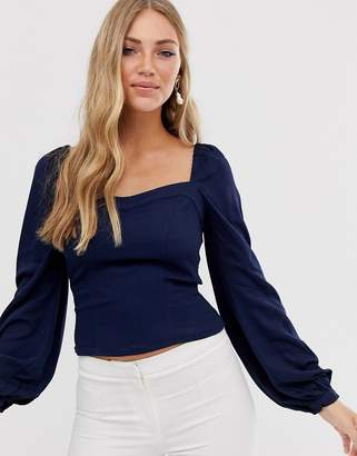 Vila square neck milkmaid blouse-Navy