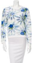 MSGM Floral Print Crew Neck Sweatshirt