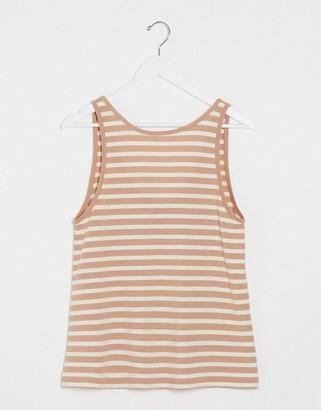 ASOS DESIGN swing vest in mink and white stripe