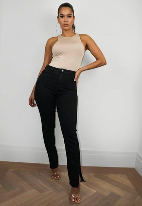 Missguided Black Comfort Stretch Split Hem Straight Jeans