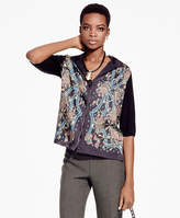 Brooks Brothers Floral Mixed-Media Cardigan
