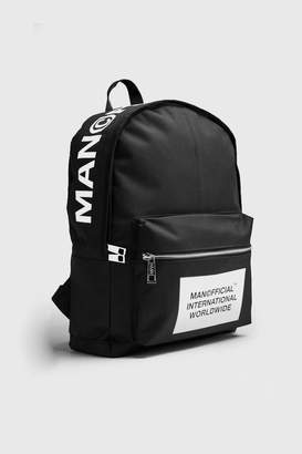 boohoo MAN Official Top Print Rucksack