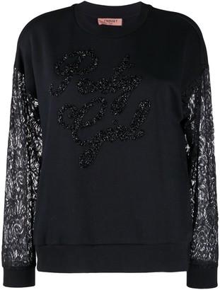 Twin-Set Lace-Sleeve Embellished Sweatshirt