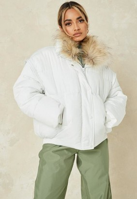 Missguided White Ultimate Faux Fur Collar Puffer Jacket