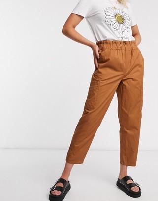 JDY kara paperbag waist pants in brown