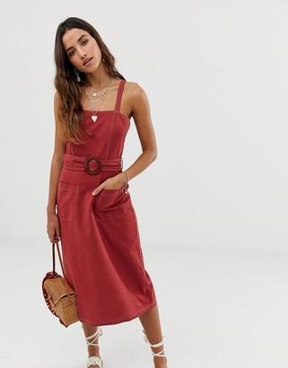 Asos Design DESIGN square neck linen midi sundress with wooden buckle & contrast stitch-Orange