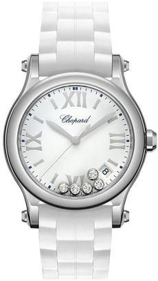 Chopard Happy Sport Stainless Steel, Diamond & Rubber-Strap Watch