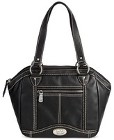 Bolo Women's Faux Leather Satchel Handbag with Front/Back/Interior Compartments with Top Closure - Black