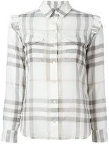 Burberry ruffle detail checked shirt - women - Cotton - 6