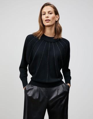Lafayette 148 New York Plus-Size Cashmere Sunburst Stripe Dolman Sweater