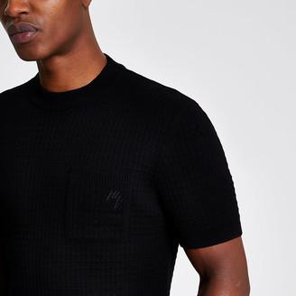 River Island Maison Riviera black knitted pocket T-shirt