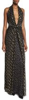 Diane von Furstenberg Evelina Metallic Floral-Print Maxi Halter Dress