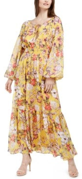 INC International Concepts Inc Petite Printed Peasant Dress, Created for Macy's