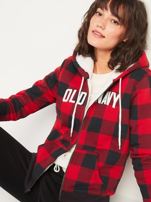 Old Navy Cozy Sherpa-Lined Logo-Graphic Zip Hoodie for Women