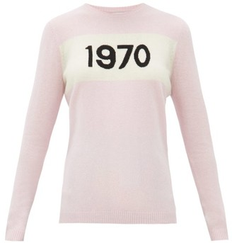 Bella Freud 1970-intarsia Cashmere Sweater - Womens - Light Pink