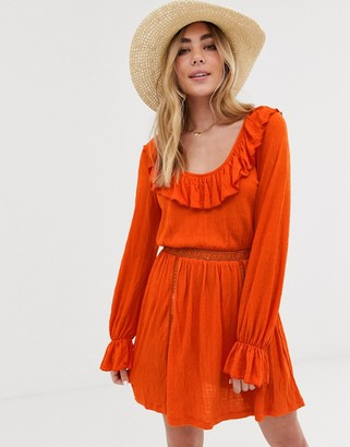 Asos DESIGN extreme scoop neck sundress with lace trim