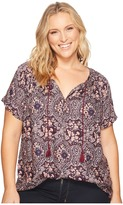 Lucky Brand Plus Size Short Sleeve Peasant Top Women's Short Sleeve Pullover