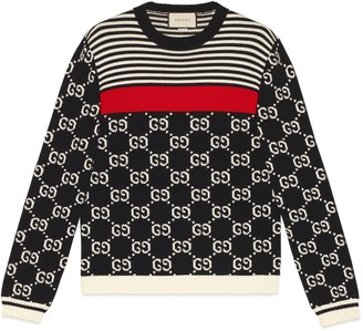 Gucci GG and stripes knit jumper