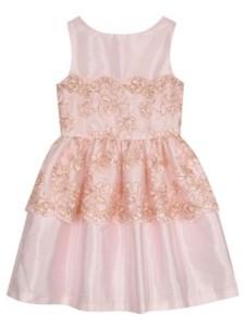 Belle by Badgley Mischka Big Girls Metallic Corded Lace Overlay Dress