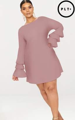 PrettyLittleThing Plus Dark Rose Frill Sleeve Shift Dress