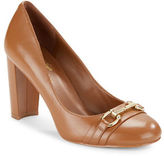 424 Fifth Mady Block Heel Leather Pumps