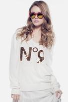 Wildfox Couture Sequin No. 9 V Neck Sweater in Cream