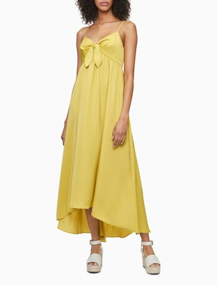 Calvin Klein Solid Tie Front V-Neck Sleeveless Maxi Dress