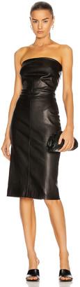 Rosetta Getty Leather Strapless Dress in Black | FWRD