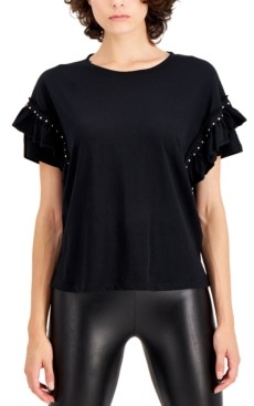 INC International Concepts Inc Plus Size Cotton Ruffled Studded T-Shirt, Created for Macy's