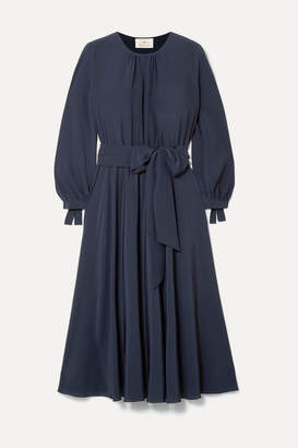 ARoss Girl x Soler Amanda Belted Gathered Silk Crepe Midi Dress - Navy