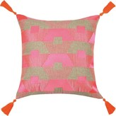 The Well Appointed House Torrance Neon Fuchsia Embroidered Pillow With Orange Tassels