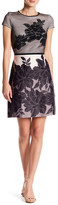 Taylor Short Sleeve Floral Applique Dress
