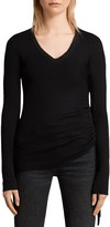 AllSaints Vana Side-Ruched Wool Sweater