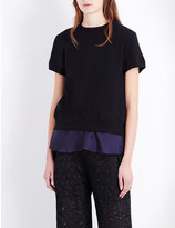 Sacai Contrast-back cotton-jersey and satin top