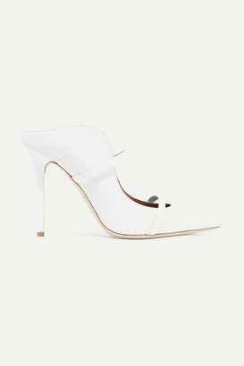 Malone Souliers Maureen 100 Patent-trimmed Leather Mules - White