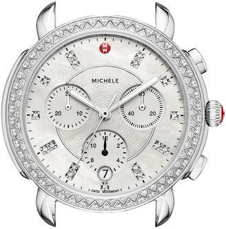 Michele Sidney Stainless Steel Watch Head with Diamonds