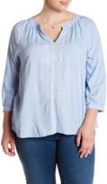 Blu Pepper Printed Long Sleeve Blouse (Plus Size)