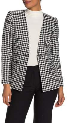 Calvin Klein One Button Houndstooth Jacket