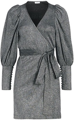 Rhode Resort Frankie Puff-Sleeve Metallic-Knit Wrap Dress