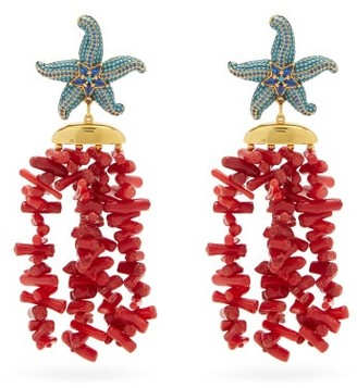 BEGÜM KHAN Sea Star Corsica 24kt Gold-plated Clip Earrings - Coral