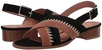 Jack Rogers Amelia City Sandal Suede (Black/Luggage) Women's Shoes