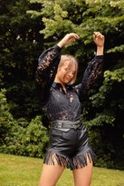 Womens On the Edge Fringe Faux Leather Shorts - black - XL
