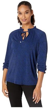 MICHAEL Michael Kors Baby Cat Shirred Top (Black/Twilight Blue) Women's Clothing