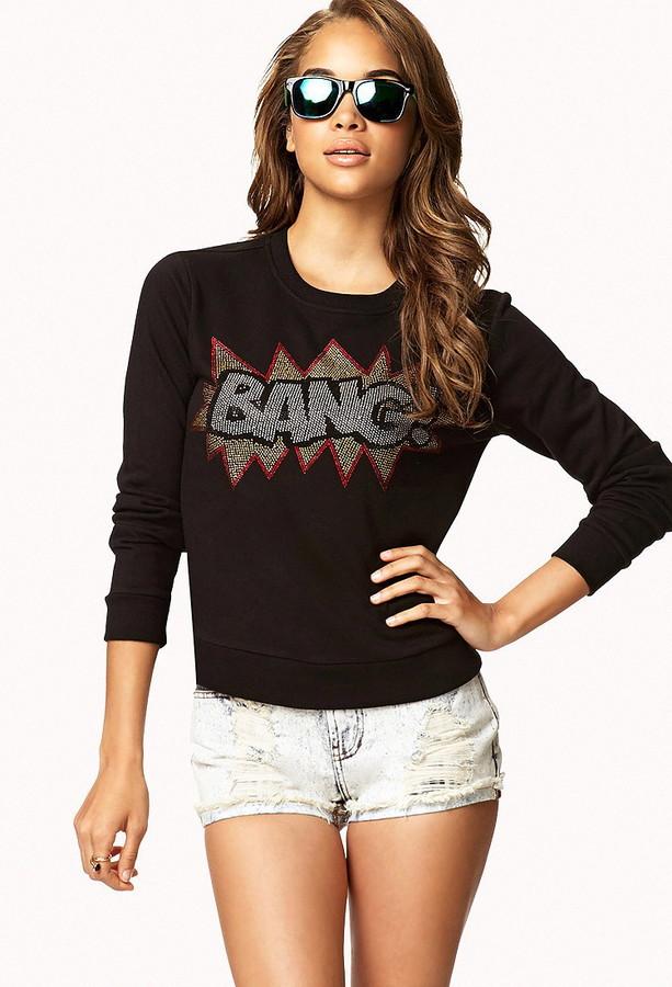 Forever 21 Rhinestoned Bang! Sweatshirt