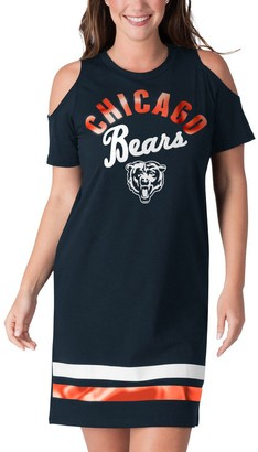 E.m. Women's G-III 4Her by Carl Banks Navy Chicago Bears Go Get Tri-Blend Cold Shoulder Mini-Dress