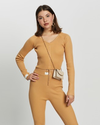 Missguided Women's Brown Long Sleeve Tops - Lounge Ruche Front Top Co-Ord - Size 8 at The Iconic