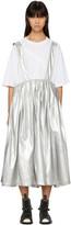 Comme des Garcons Silver Fake Enamel Suspender Skirt