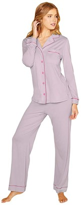 Cosabella Bella Long Sleeve Top Pants PJ Set (Dusty Basil/Riviera Blue) Women's Pajama Sets