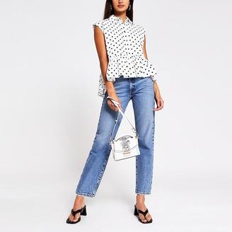 River Island White Spot print shirt